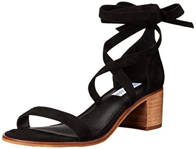 Steve Madden Women's Rizzaa Heeled Sandal, Black Suede, ...