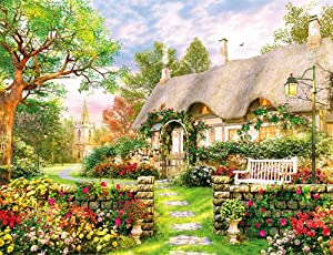 Landscape British Cottage Jigsaw Puzzles 1000 Piece Puzzles for Adults Kids, Manor 1000 Puzzle Romantic Garden Puzzles for Adults Teens