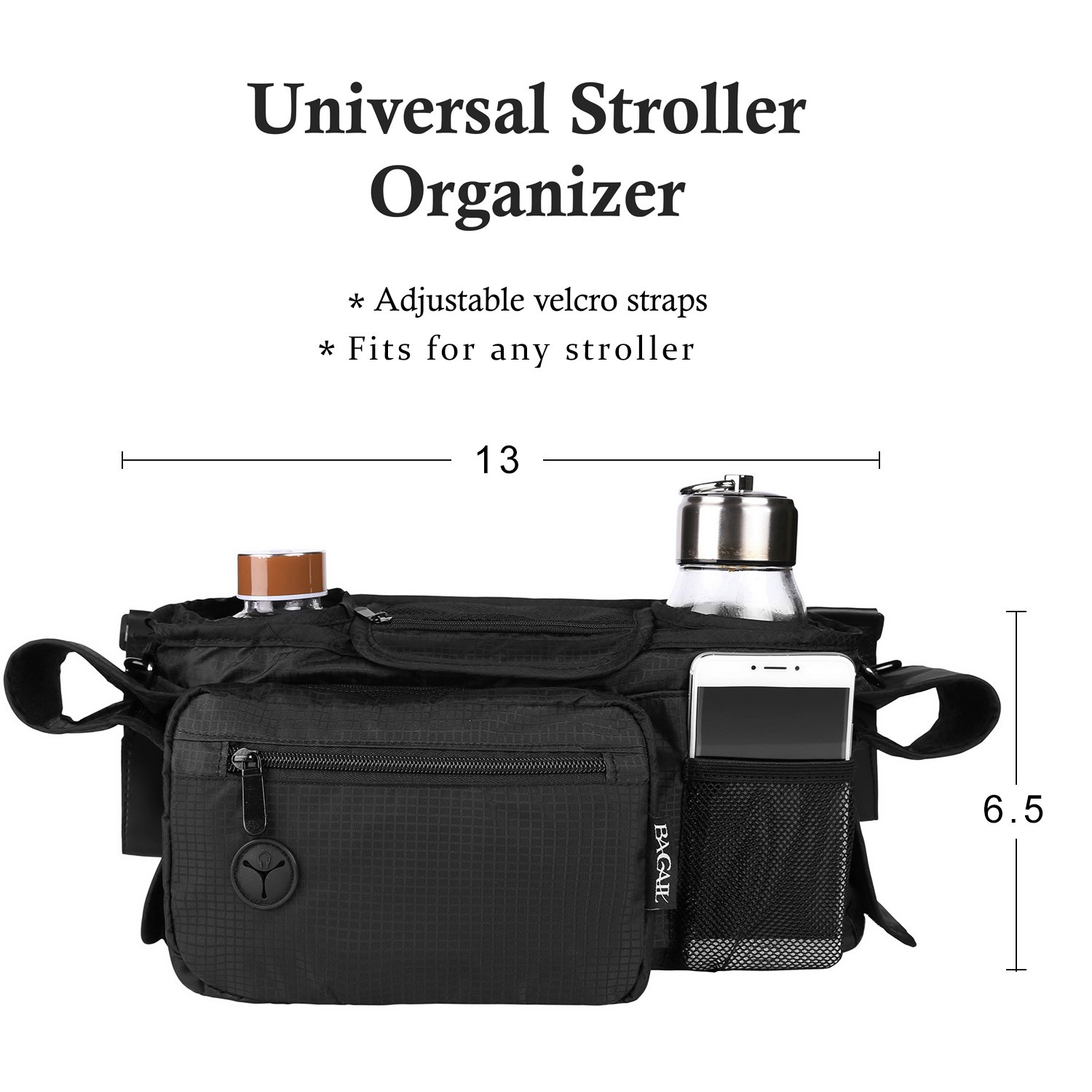 Bagail Stroller Organizer Fits All Strollers, Two Premium Deep Cup Holders, Extra-Large Storage Space for iPhones, Wallets, Diapers, Toys, & iPads, The Perfect Baby Shower Gift for Smart Moms by BAGAIL (Image #2)