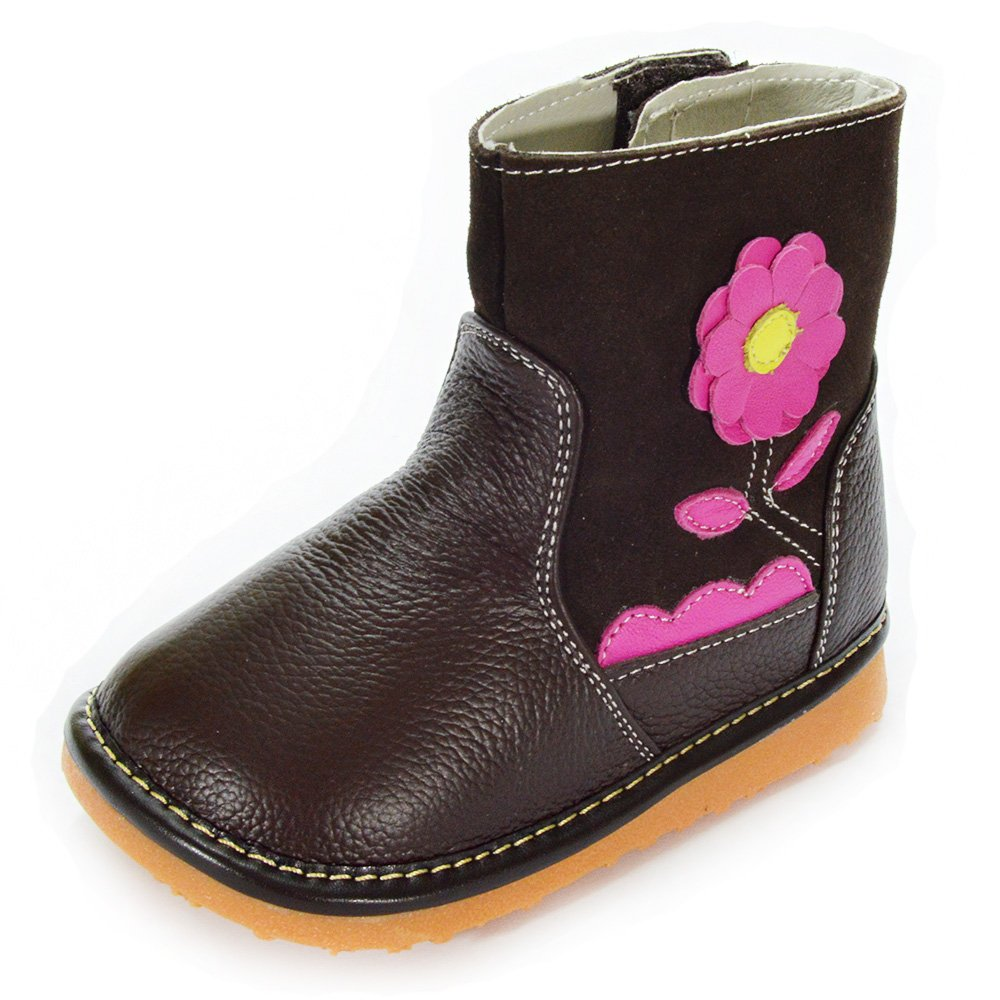 HLT Toddler/Little Kid Girl Layered Flower Brown Squeaky Boot [US 10 / EU 26]