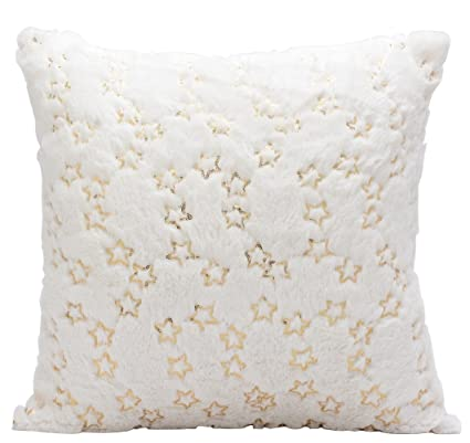 Amazon ButiShop Soft Beige Faux Fur Sewing With Golden Sequins Mesmerizing Sewing Decorative Throw Pillows