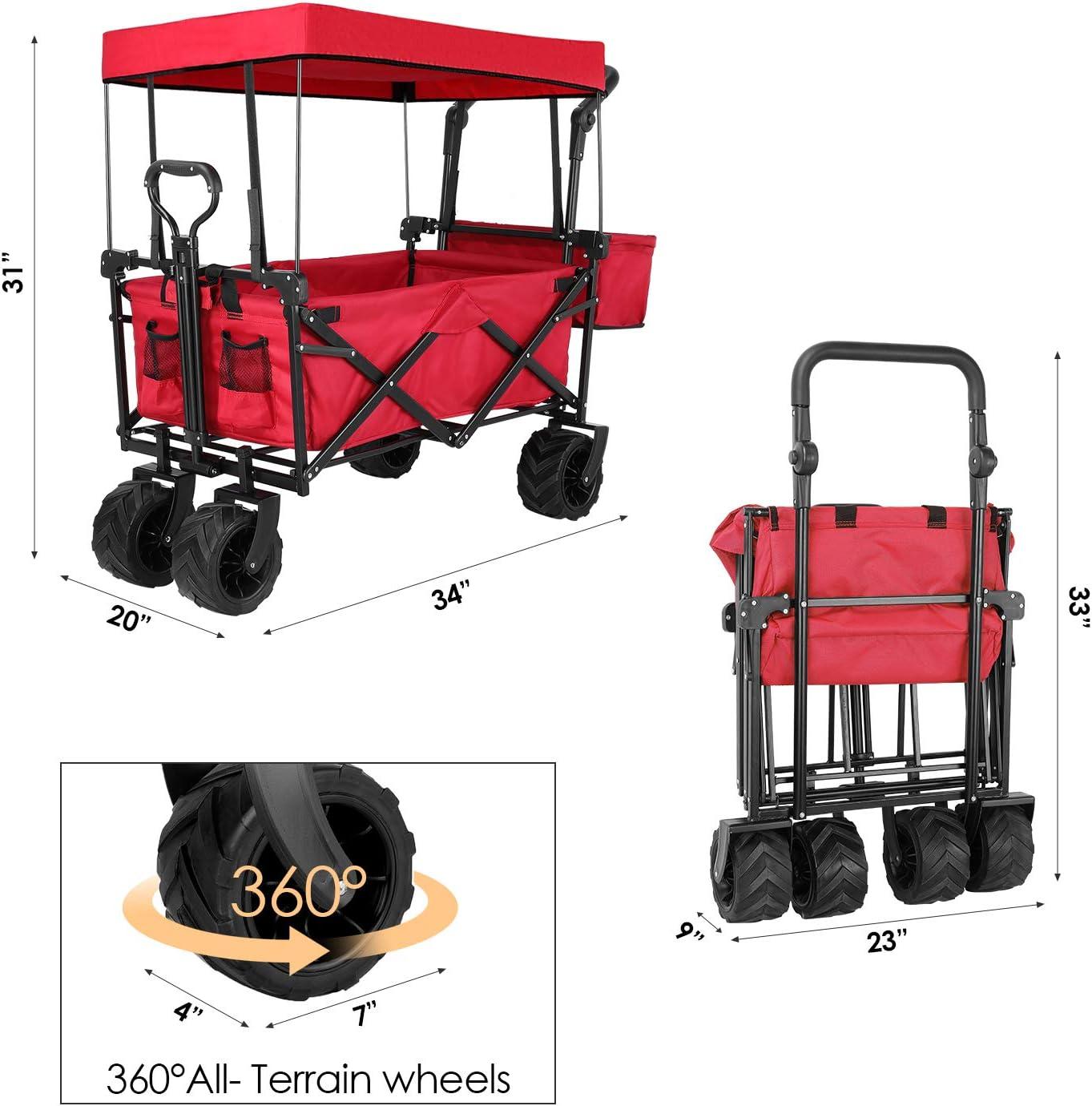 TOPWELL carro port/átil de carga m/áxima de 80 kg ruedas delanteras giratorias de 360 /° ruedas traseras correderas patentadas Carrito de mano plegable para todo terreno con dise/ño autom/ático