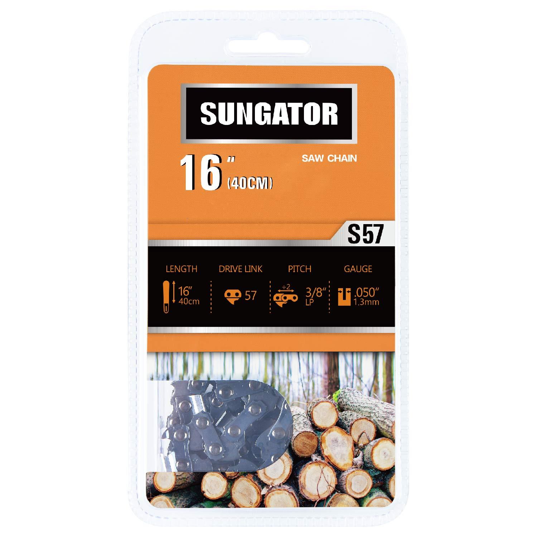 SUNGATOR 16-Inch Chainsaw Chain SG-S57, 3/8'' LP Pitch - .050'' Gauge - 57 Drive Links Fits Echo, Shindaiwa, Worx, Echo, Stihl by SUNGATOR