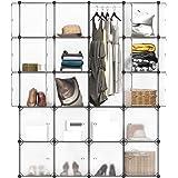 LANGRIA Stufenregal 20-Kubus Regalsystem Lagerregal Kleiderschrank Garderobe mit Transluzenten Platten für Kleidung, Schuhe, Spielzeug und Bücher