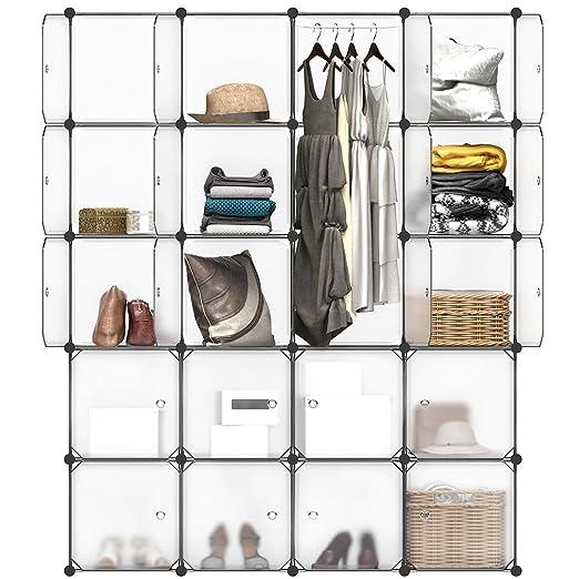Langria Armario Modular Estantería Por Módulos Armario De Almacenaje Para Ropa Zapatos Juguetes Y Libros Color Blanco 20 Cubos Con Puertas