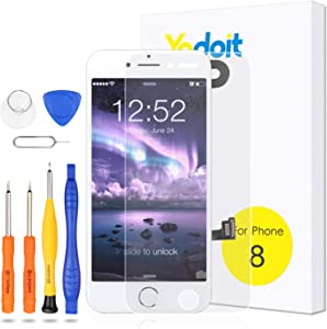 Yodoit for iPhone 8 Screen Replacement White with Home Button, Front Camera, Ear Speaker, Full Assembly LCD Display Digitizer and Repair Tool Kit, Protector (Model A1863, A1905, A1906)