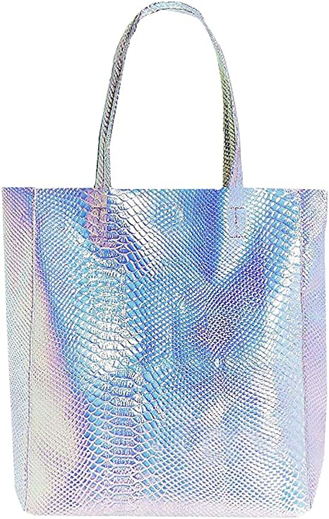 AiSi Womens Holographic Tote Bag PU Shoulder Shopping Handbag,Silver