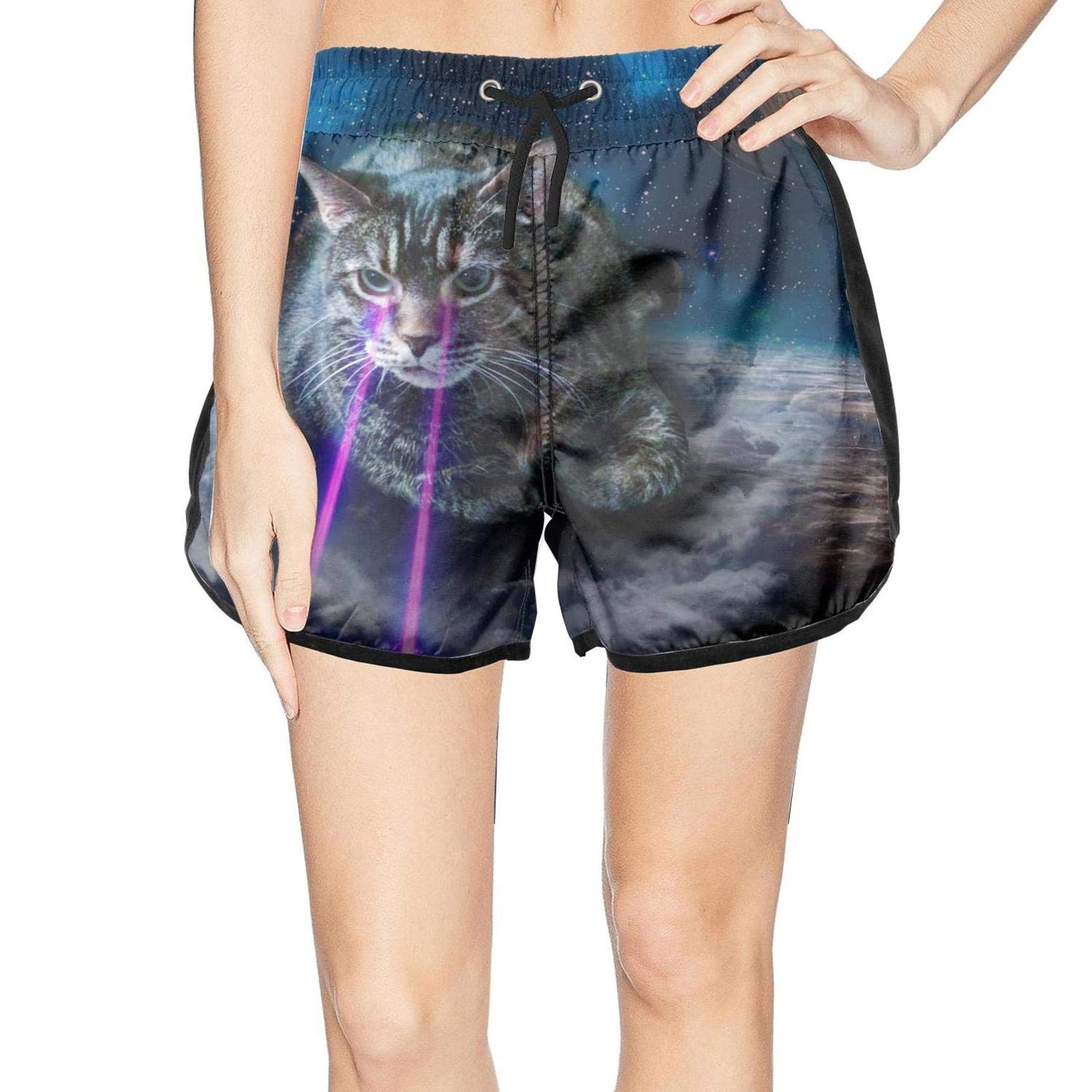 XULANG Young Women Laser cat Space Swim Trunks Watersports Beach wear Casual Sport Boardshorts