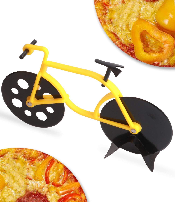 Cortador de pizza para bicicleta, acero inoxidable, doble rueda ...
