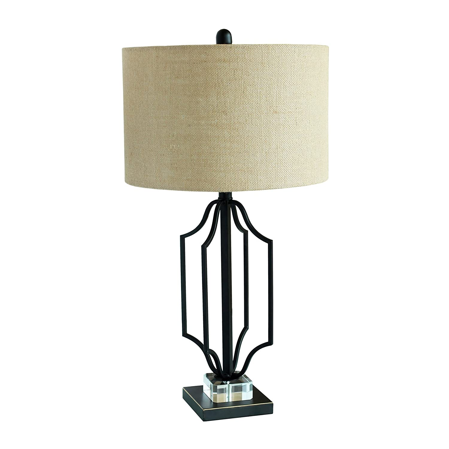 Ids Home Modern Matt Black Gold Highlight Table Lamp With Clear