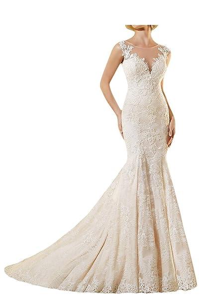 LYDIAGS - Vestido de novia, sin mangas, con encaje, estilo de sirena,