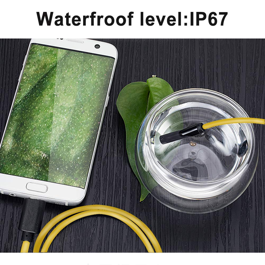 10M 33 ft Kewang 33ft Yellow USB Endoscope 2.0MP HD Waterproof Snake Camera with 6 Adjustable Led for Android Windows /& MacBook OS Computer