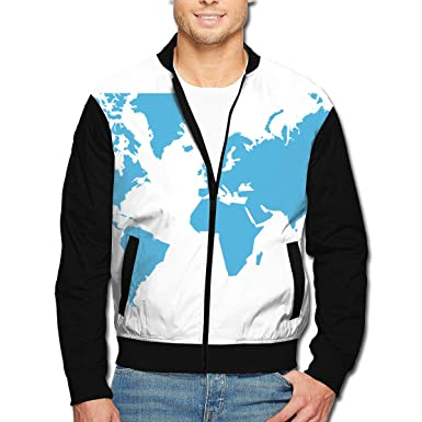 Amazon.com: Dbou World Map Men\'s Casual Outdoor Full-Zip Up ...