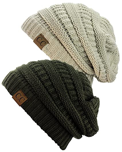 C.C Trendy Warm Chunky Soft Stretch Cable Knit Beanie Skully, 2 Pack Beige/Dark Olive
