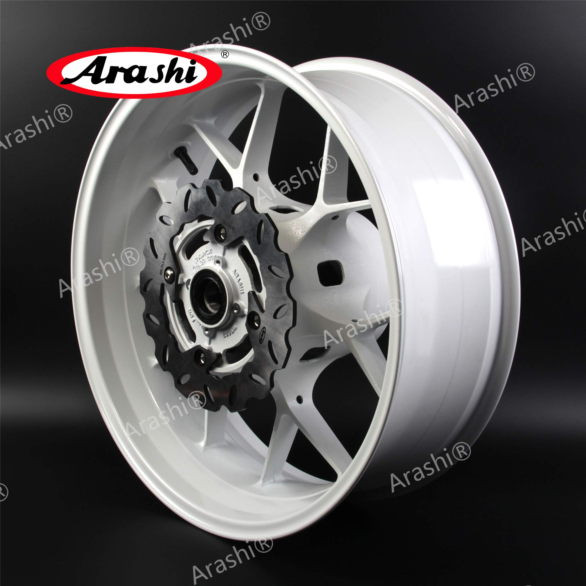 Arashi Rear Wheel Rim and Brake Rotor Disc Disk for HONDA CBR600RR 2007-2017 Motorcycle Accessories CBR 600 RR CBR600 600RR 600CC White 2008 2009 2010 2011 2012 2013 2014 2015 2016