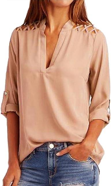Camisas Mujeres Tops Manga Larga Elegante V Cuello Básicos Camisetas Color Sólido Otoño Verano De Moda Blusas Casual Fiesta Juvenil Moderno Clásico T-Shirt Ropa Señora Camisa Blouse Basicas Modernas: Amazon.es: Ropa y