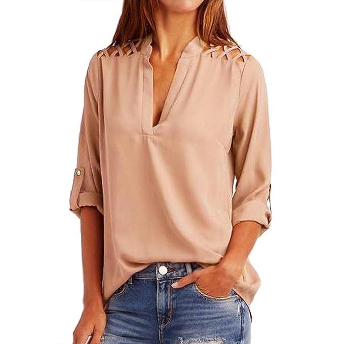 Battercake Camisas Mujeres Tops Manga Larga Elegante V Cuello Básicos Camisetas Color Sólido Casuales Mujeres Otoño