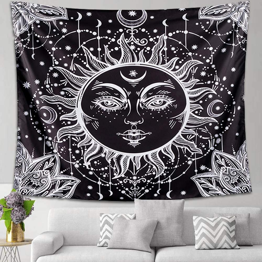 "Letsroam 2 Sun and Moon Psychedelic Black and White Celestial Indian Bohemian Hippy Mandala Tapestry Dorm Decor Wall Hangings for Bedroom Living Room 51.2/""x59.1 Face"