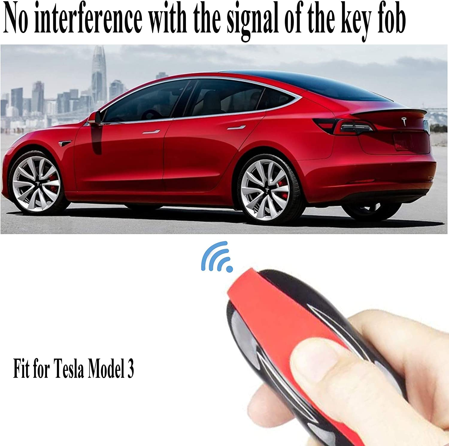 Model S, Red RAYSUN Silicone Key Fob Protector Cover Keychain Compatible for Tesla Model 3 Model S Model X Model Y