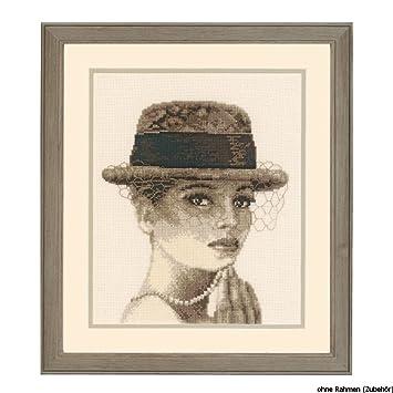 Vervaco Stickpackung Z/ählmuster Frau mit Hut Z/ählmusterpackung-Kreuzstichbild Mehrfarbig Baumwolle 21 x 26 x 0.3 cm