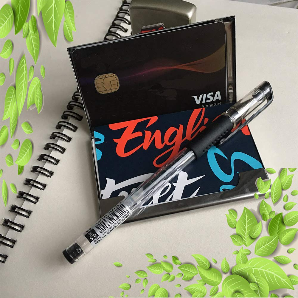 Professional Business Card Case,Cat Painting Flower Butterfly Stainless Steel Card Holder