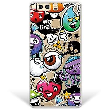 Funda Huawei P9 Plus, WoowCase® [Hybrid] Grafiti de Colores Divertido Case Carcasa [Huawei P9 Plus] Rígida fabricada en Policarbonato y bordes de TPU ...
