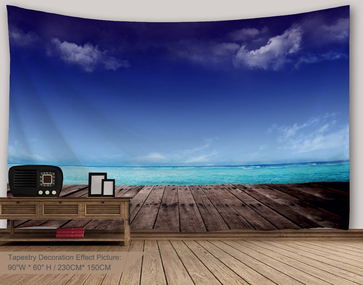 Alfalfa Wall Hanging Decor Nature Art Polyester Fabric Tapestry, Ocean Beach Theme, For Dorm Room, Bedroom,Living Room - 90'' W x 60'' L (230cmx150cm) - Wooden Bridge On Ocean Beach