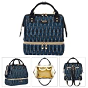 SAMAZ Diaper Bag Backpack Multifunctional Fashion Baby Diaper Mummy Changing Bag Nappy Bag with USB Charging Port for Women Teen Girls (Blue)