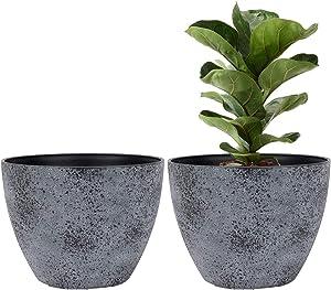 LA JOLIE MUSE Flower Pots Outdoor Indoor Planter - 11.3 inch Garden Pots Tree Planter for Patio, Deck,Garden,Rock Gray,Set of 2