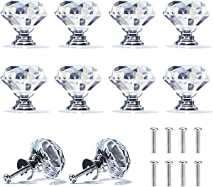 Cabinet Knobs Crystal, Dedoot 10 Pack 30mm Crystal Drawer Cabinet Knobs Diamond Shape Glass Knob Pull Handle for Kitchen Wardrobe Dresser and Cupboard
