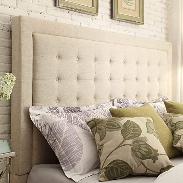 Inspire Q Bellevista Button-Tufted Square Upholstered adboard