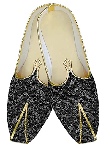 Mens Gray Polyester Wedding Shoes Paisley Pattern MJ10960