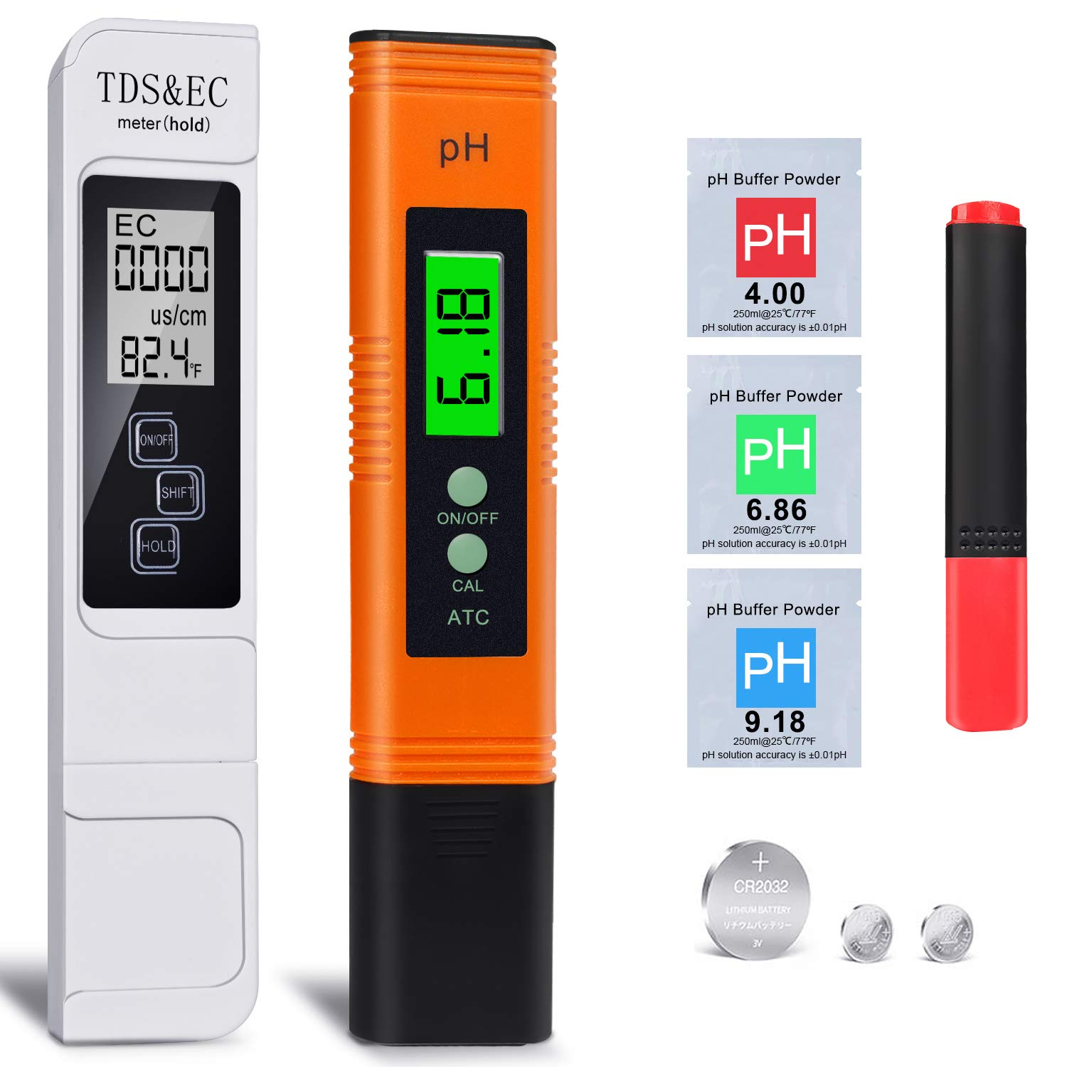 OQTO pH Meter and TDS Meter Combo, 0.01 pH High Accuracy Water Quality Tester with 0-14 pH Measurement Range, 3 in 1 TDS EC Temperature Meter with Hold Function