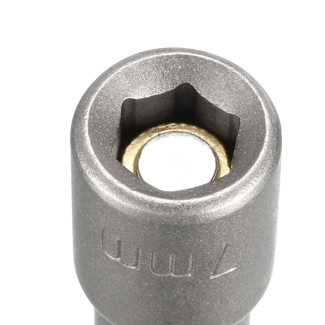 2.5 Length sourcingmap 1//4 Inch Quick Change Shank Cr-V 18mm Magnetic Nut Setter