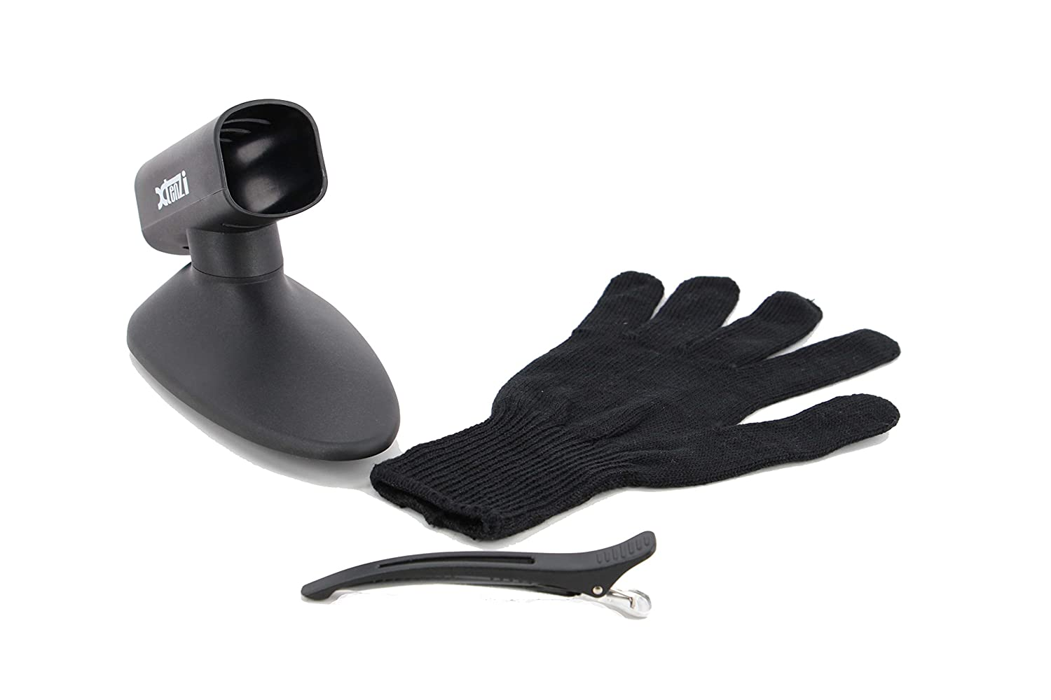 Xtenzi Wall Mount Flat Iron Holder, Heat Resistant Glove & Clip Bundle for Straightener Hair Styling Tools