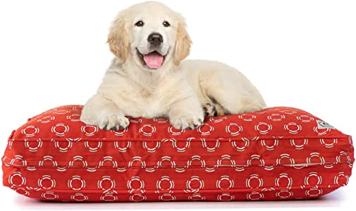 eLuxurySupply Pet Bed - Deluxe Cluster Fiber Filling Pet Beds for Dog and Cats   100% Cotton Removable Cover   Fully Washable   Small, Medium & Large Pet Beds