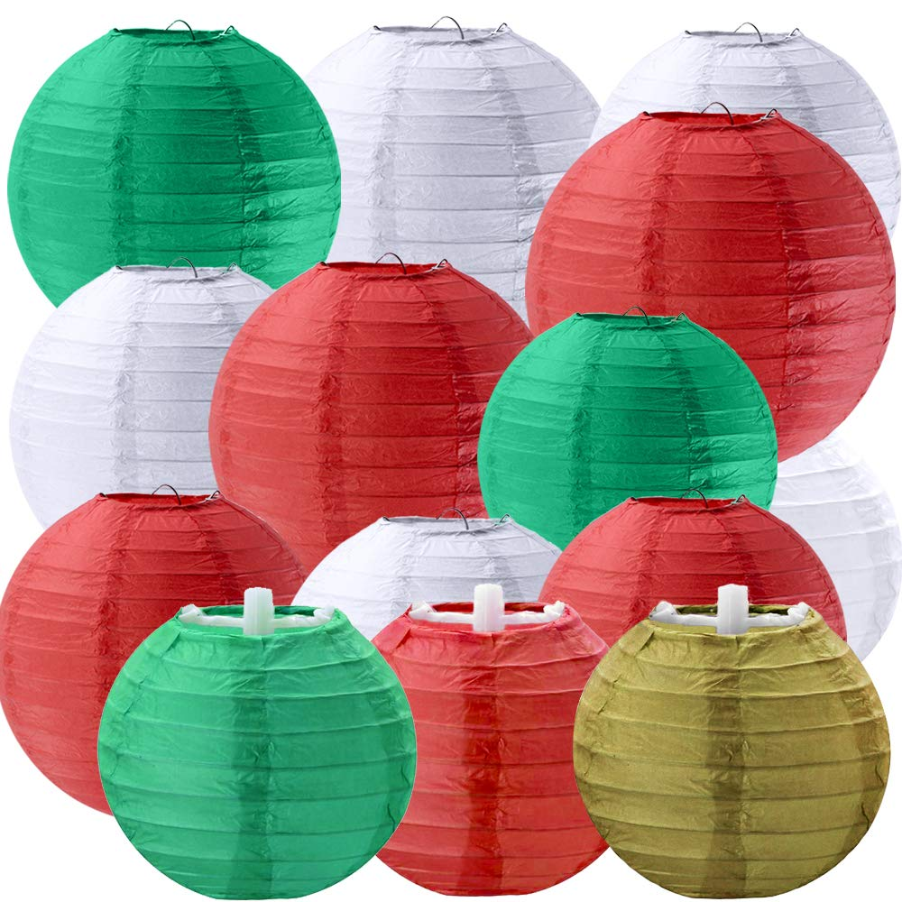 18 Pcs 5 Sizes Christmas Decorative Paper Lanterns Hanging Chinese Japanese Lanterns Round Party Lanterns Decorations Paper Lantern in Red Green White Gold for Christmas Party Holiday Season Hanging