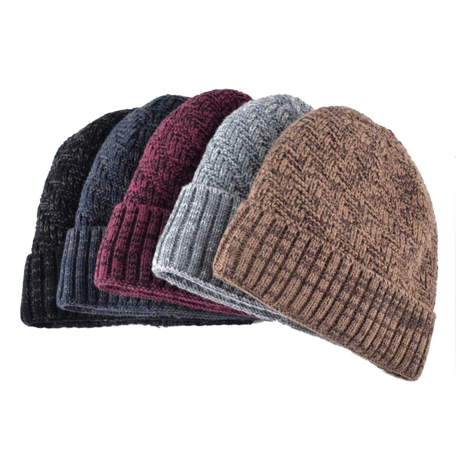 Moktasp Winter Beanie Hat Cap for Men and Women Knitted Velvet Skullies Solid Color hat Flanging Ski Caps Warm Hats