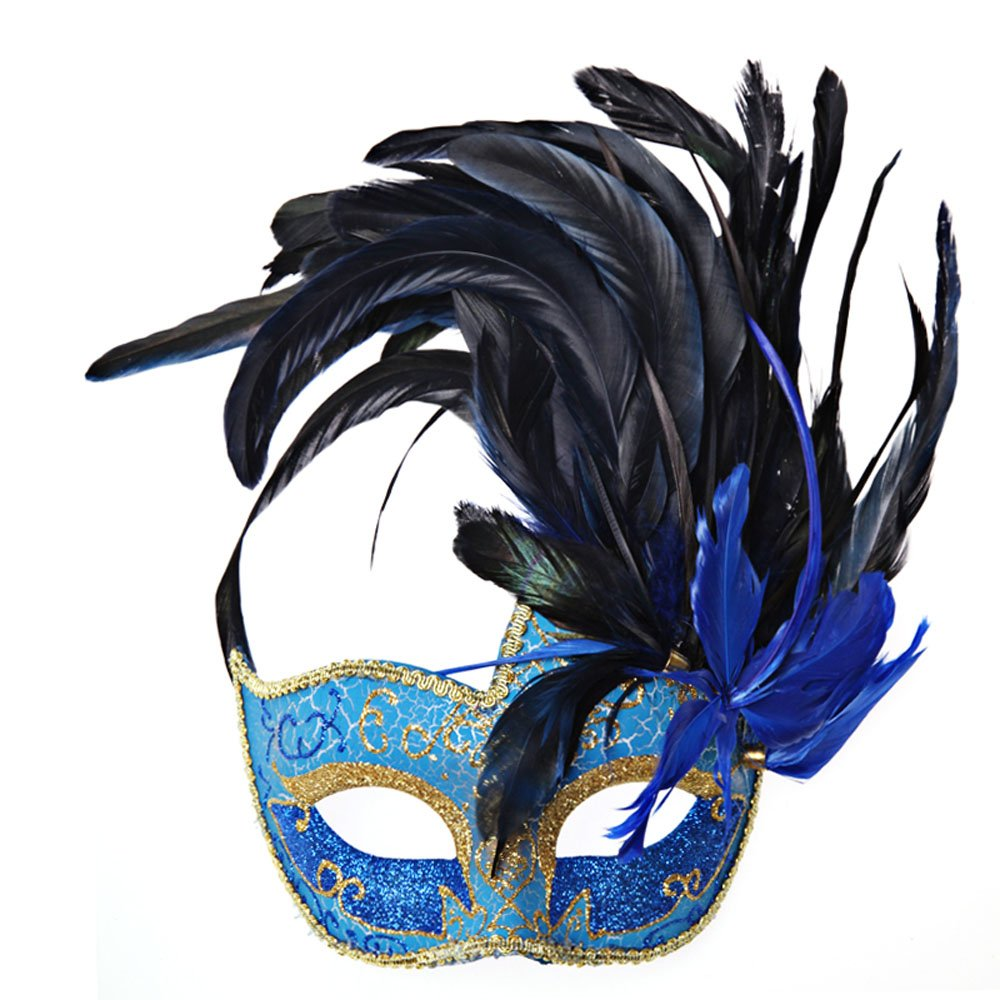 Venetian Masquerade Party Half Mask Feather Eye Mask Lace Princess Mask (Blue) by AngelGift (Image #1)