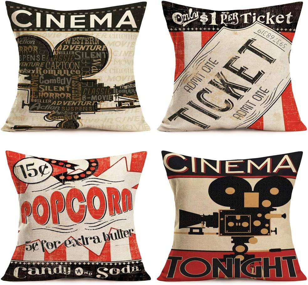 Xihomeli Set of 4 Movie Theater Cinema Element Personalized Home Decor Design Square Throw Pillow Cover Pillow Case 18 x 18 Inch Cotton Linen Pillow Cover for Sofa Couch (4 Pack Movie)