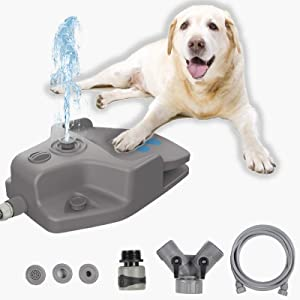 keren Dog Water Fountain, Automatic Pet Water Fountain Step On Paw Activated Dog Water Dispenser with 3 Nozzles, 9.8FT Hose & Y Splitter Mat for Small, Medium to Large Dogs