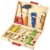 Viga Childrens Wooden 10 Piece Tool Box Builders Set - Wood Construction Play Toy