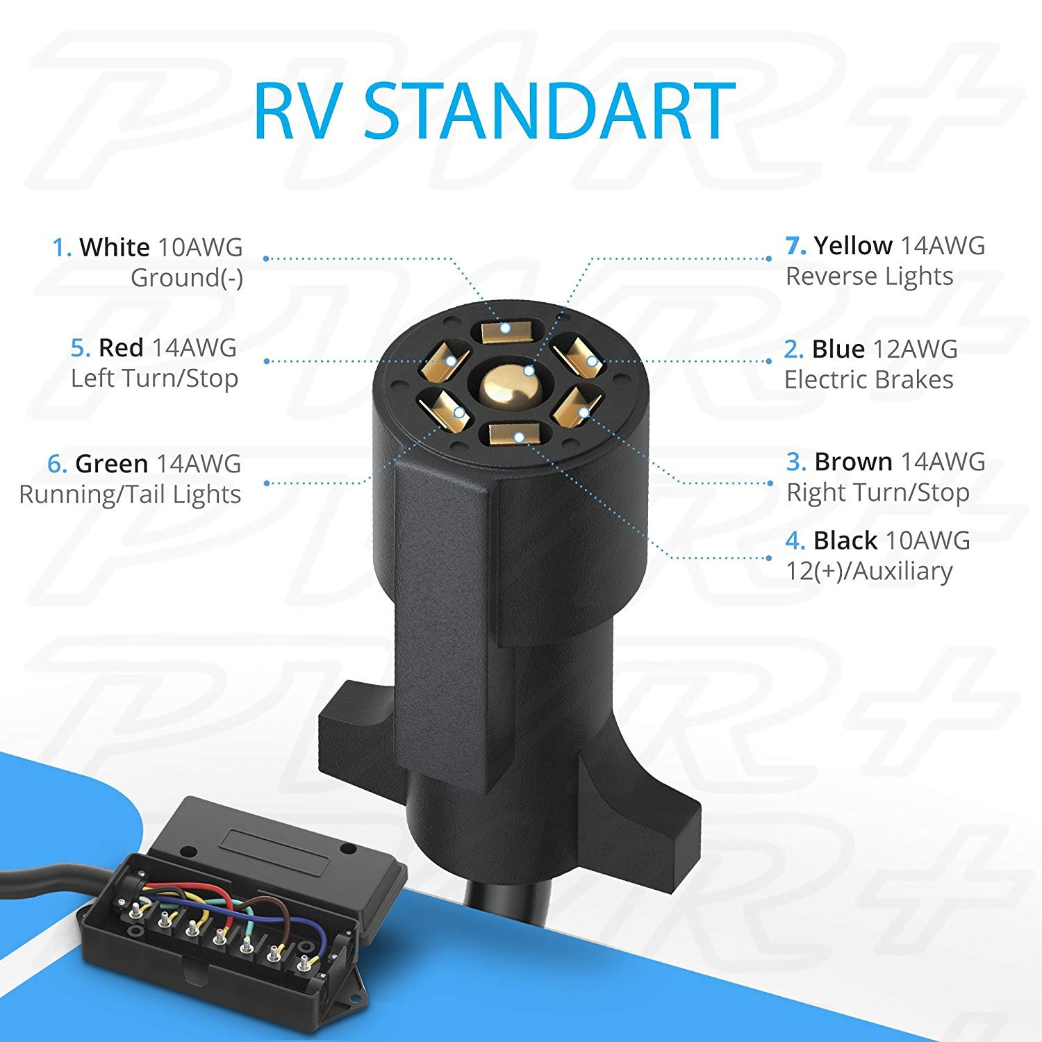 Weatherproof RV Standart !!! Corrosion Resistant 1.8 meters Heavy Duty Cord Double Prongs RV 7 Pin Gang Wire Pole Inline Light Trailer Wiring Harness Cable Long 6 Ft Pwr 7-Pin Trailer Plug Connector 7-Way: with Junction Box