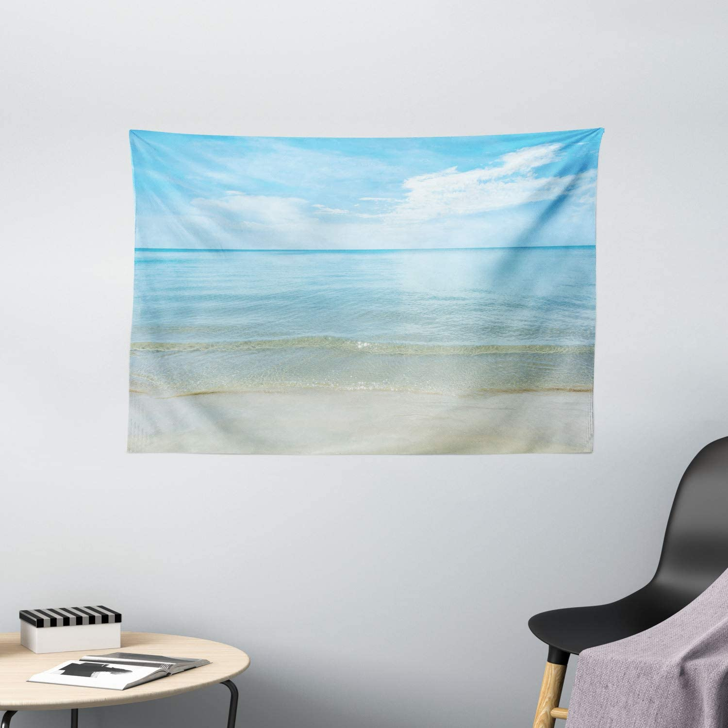"""Ambesonne Ocean Tapestry, Sunny Summer Day at The Sandy Beach Tranquil Calm Shore Sea Horizon Image Artprint, Wide Wall Hanging for Bedroom Living Room Dorm, 60"""" X 40"""", Blue Cream"""