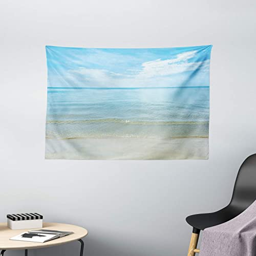 Ambesonne Ocean Tapestry, Sunny Summer Day at The Sandy Beach Tranquil Calm Shore Sea Horizon Image Artprint, Wide Wall Hanging for Bedroom Living Room Dorm, 60 X 40 , Blue Cream