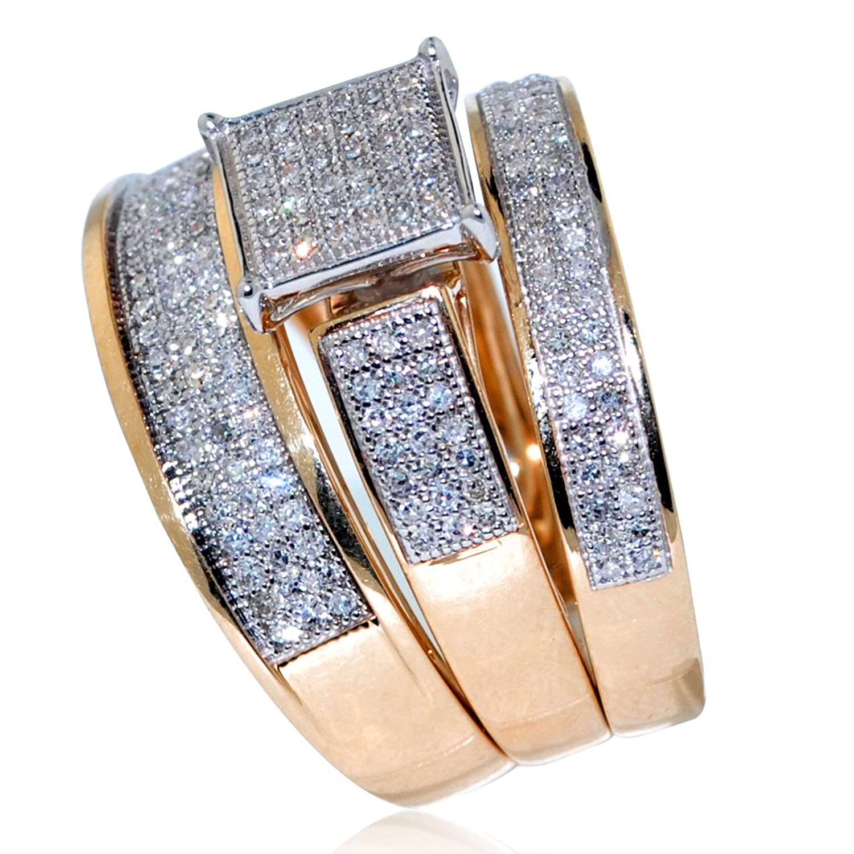 B trio wedding rings Amazon com His Her Wedding Rings Set Trio Men Women 10k Yellow Gold 0 6cttw i2 i3 Clarity I j Color Jewelry