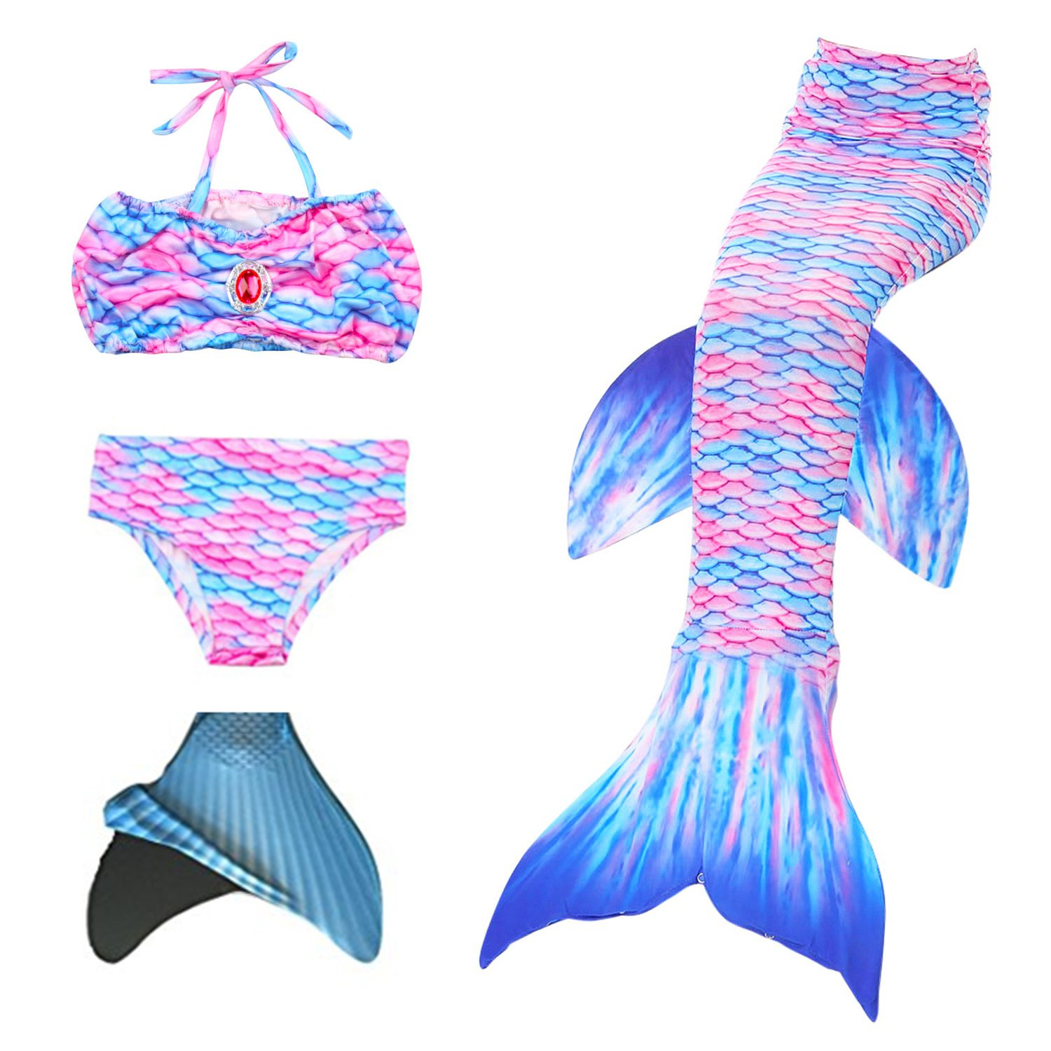 loenzo otiz Girl mermaid tail for swimming and fins set 4PC