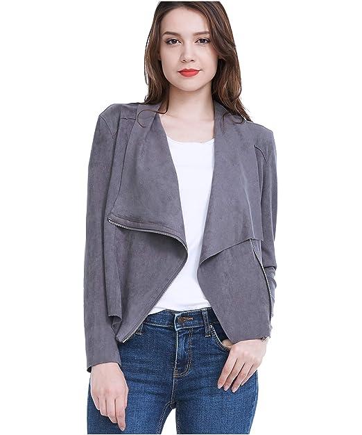 Amazon.com: Fasbric - Chaqueta de piel sintética para mujer ...