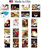 COFFEE, TEA & CAKES postcard set of 20. Made in USA. Post card variety pack with coffee and tea drinking theme postcards.