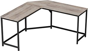 VASAGLE Computer Desk, L-Shaped Corner Desk for Home Office, Writing Study Workstation, Industrial Style PC Laptop Table, Gaming Desk, Space-Saving, Easy Assembly, Greige and Black ULWD073B02